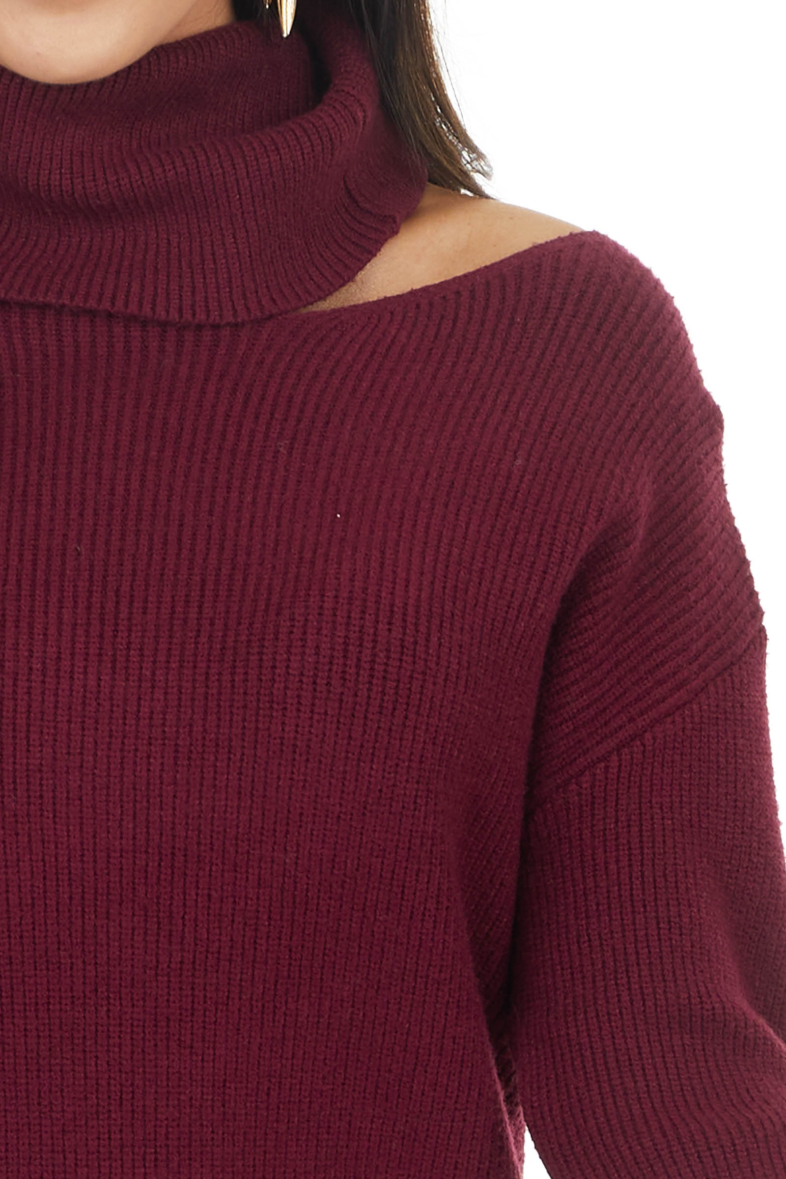 Wine Ribbed Turtleneck Mini Sweater Dress with Cut Out