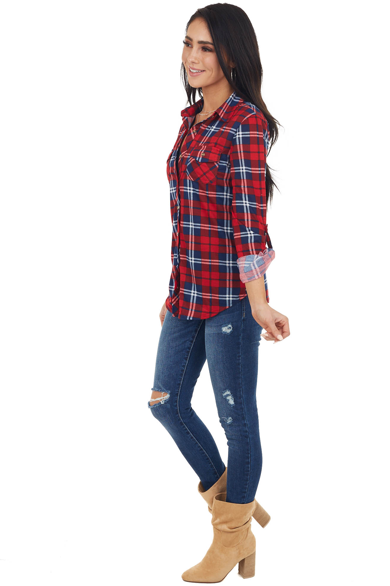 Cherry and Navy Plaid Button Up Top with Chest Pockets