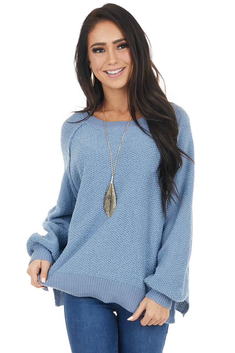 Dusty Blue Long Sleeve Lightweight Sweater with Raw Details