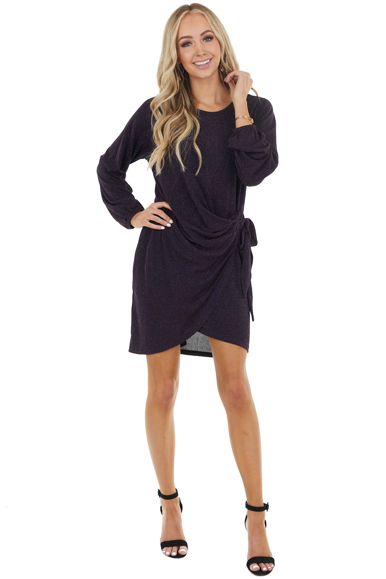 Black and Amethyst Sparkly Draped Dress with Side Tie