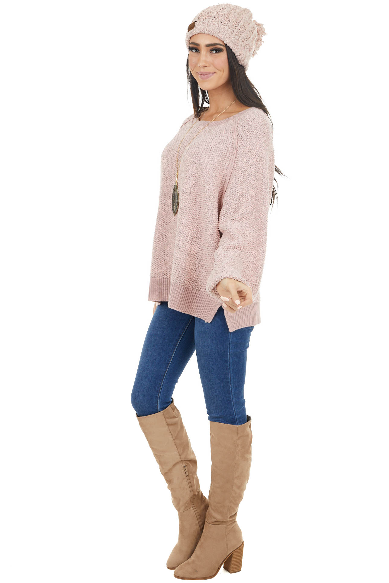 Dusty Blush Long Sleeve Lightweight Sweater with Raw Details