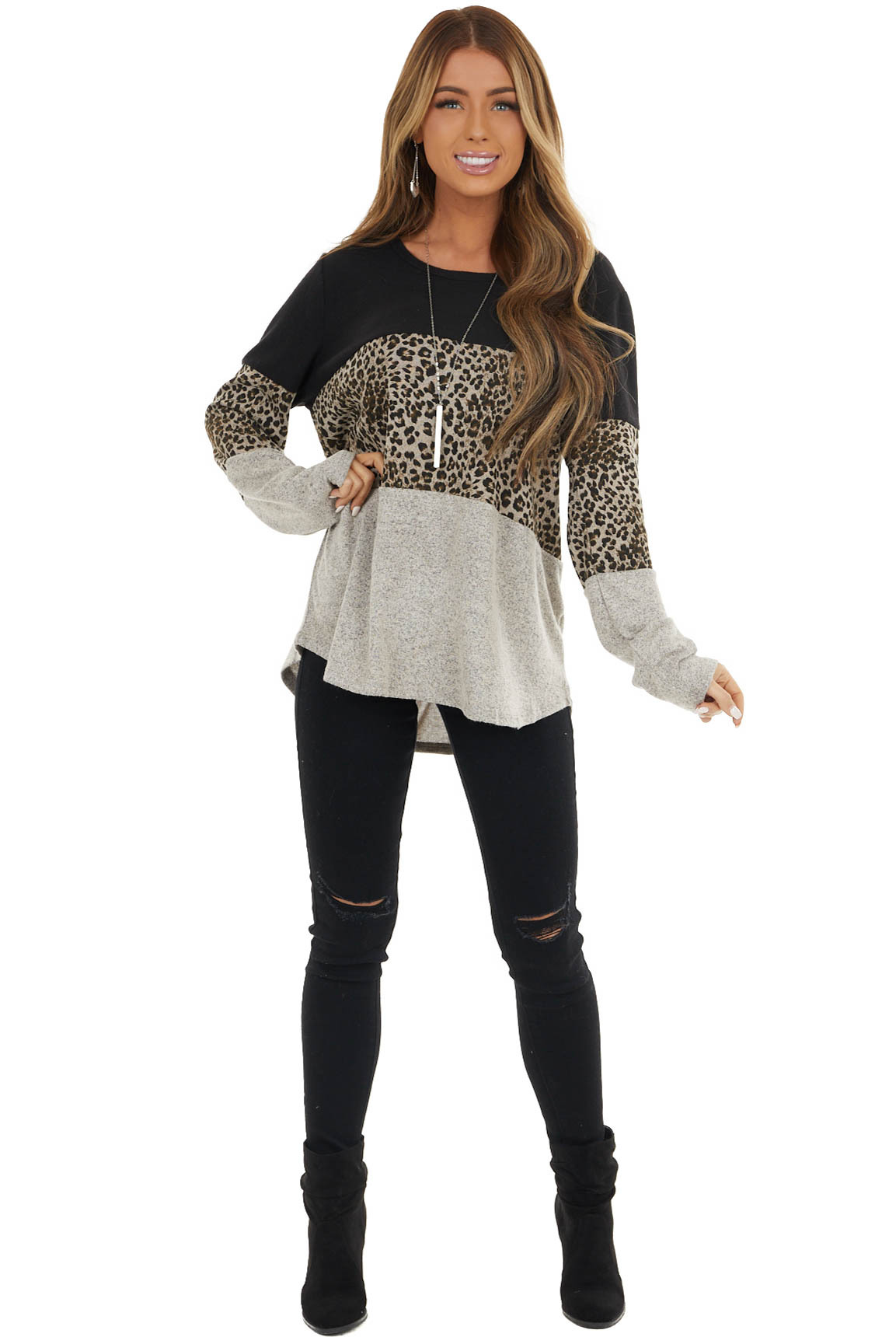 Black and Leopard Print Colorblock Long Sleeve Knit Top