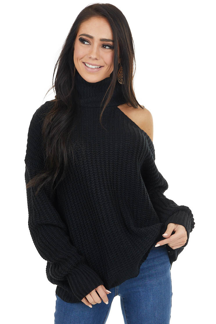 Black Long Sleeve Knit Sweater with Cold Shoulder
