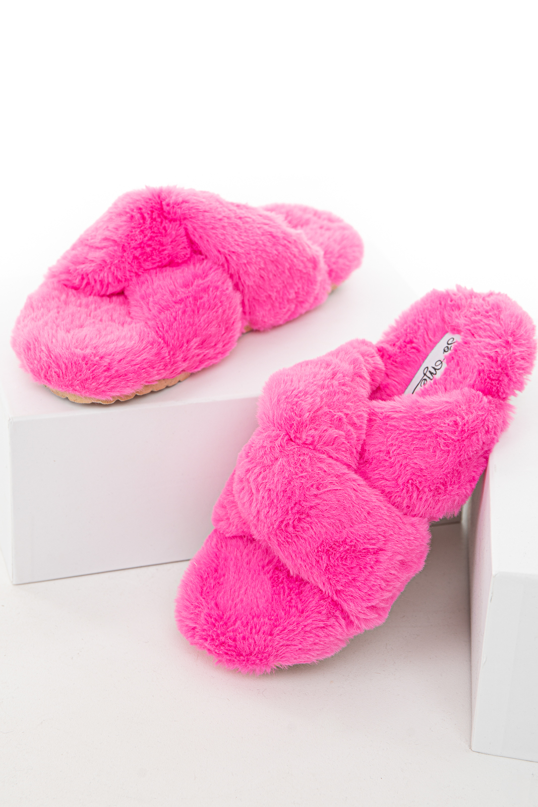 Hot Pink Fuzzy Soft Sandal Slippers with Criss Cross Details