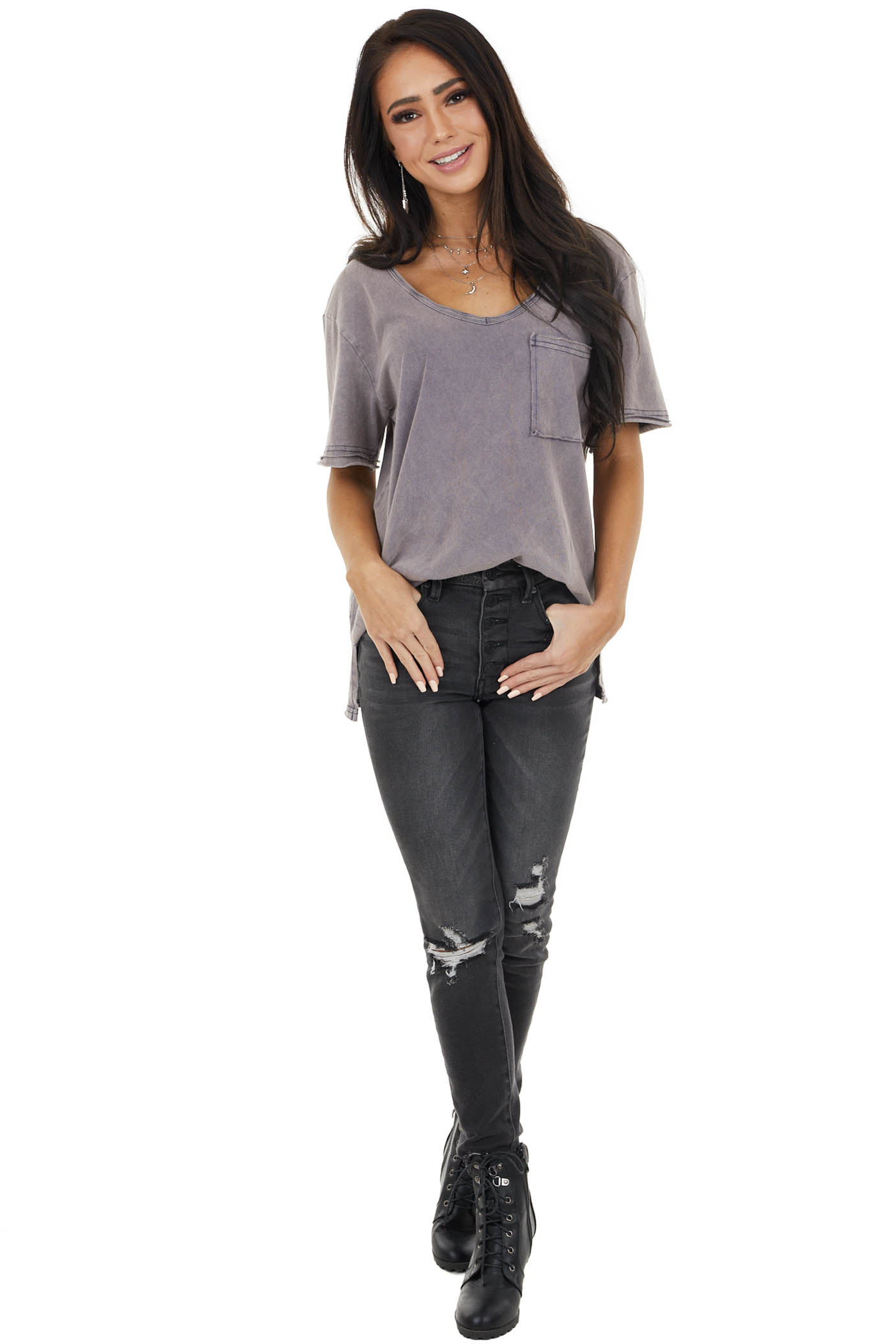 Mauve Mineral Wash V Neck Top with Split Seam Details