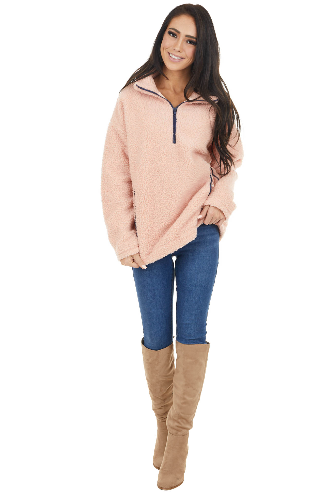 Peach Sherpa Half Zip Mock Neck Jacket with Side Pockets