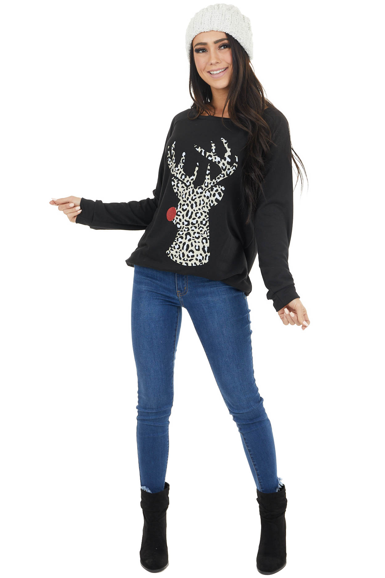 Black Long Sleeve Top with Leopard Print Rudolph Graphic