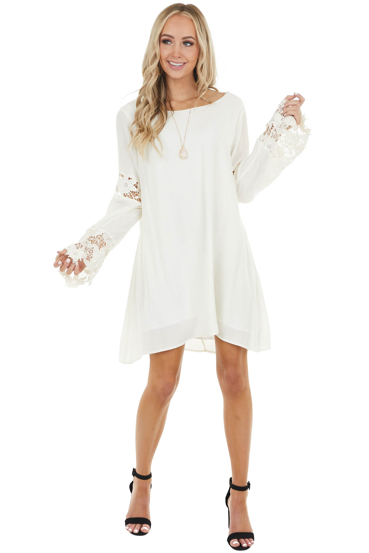 Ivory Short Shift Dress with Long Crochet Lace Bell Sleeves