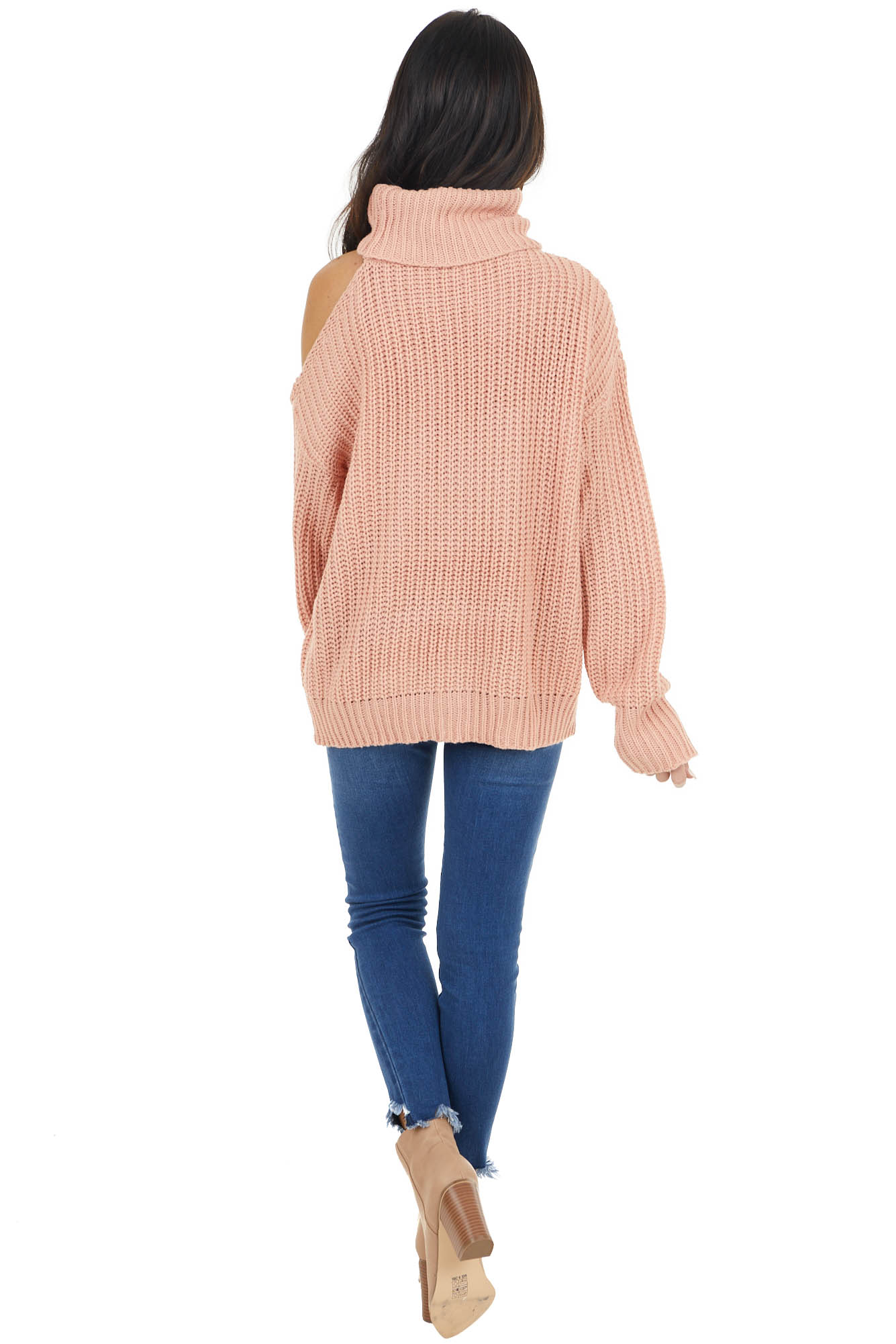 Dusty Coral Long Sleeve Knit Sweater with Cold Shoulder