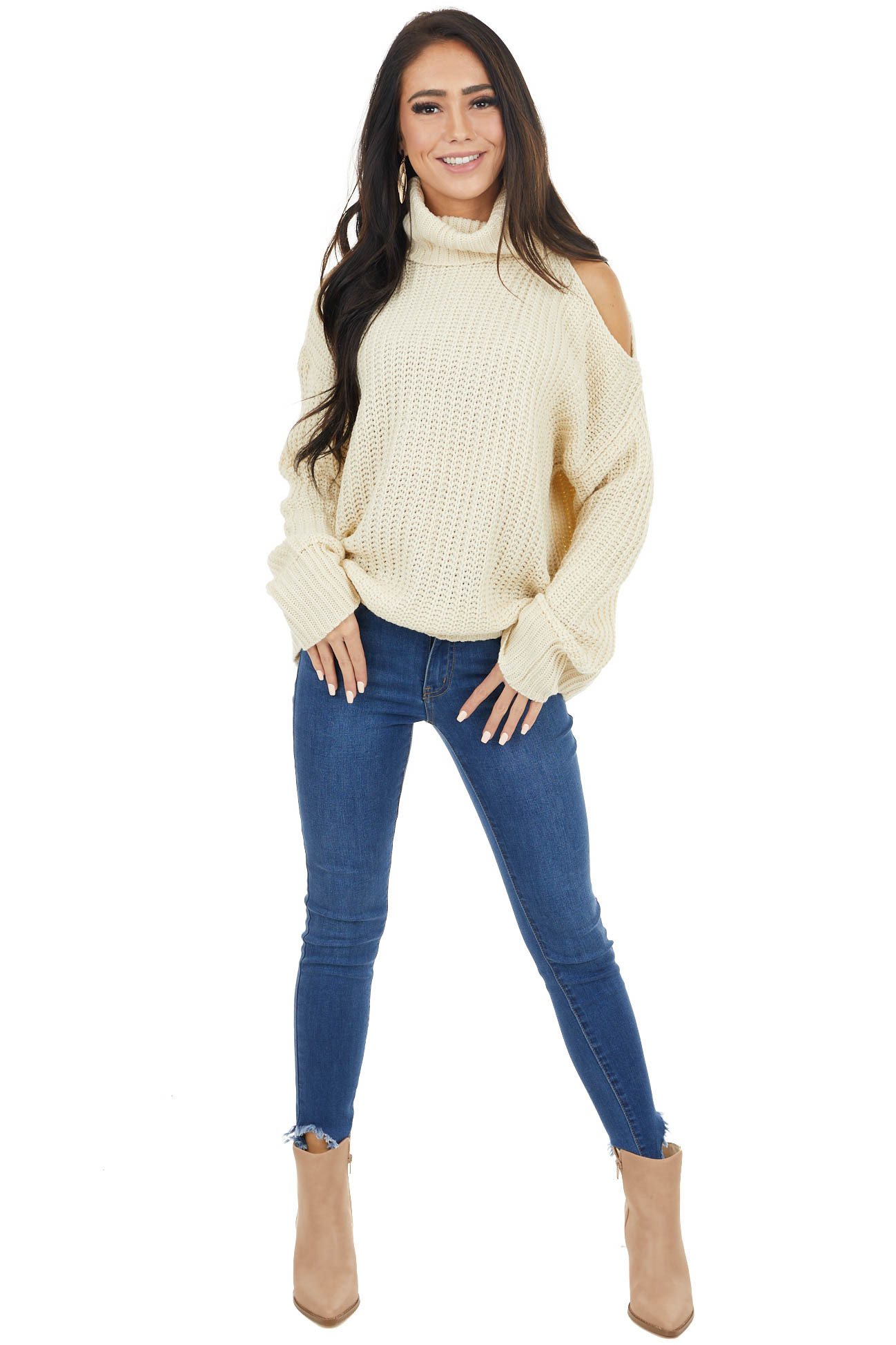 Cream Long Sleeve Knit Sweater with Cold Shoulder