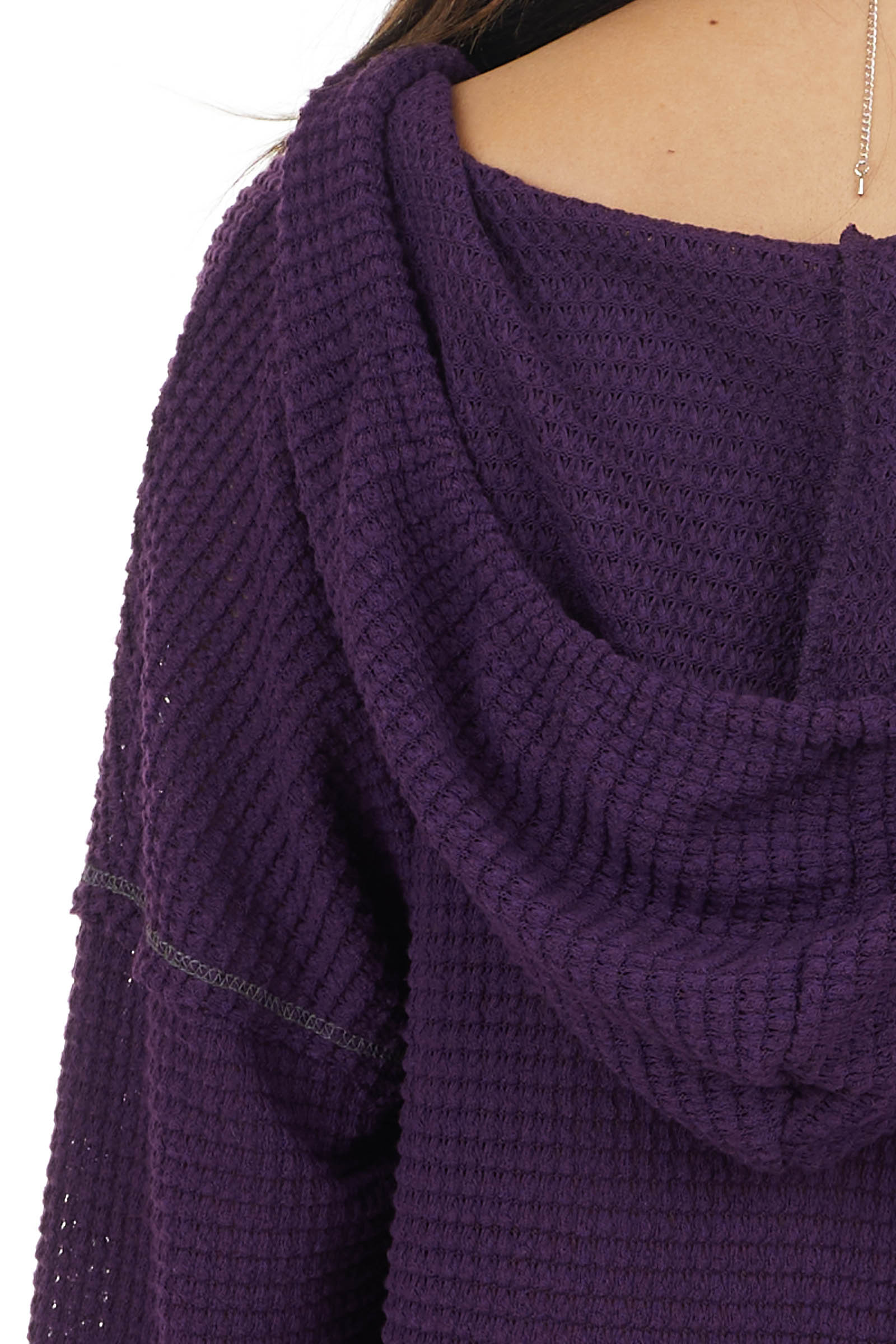 Grape Stretchy Waffle Knit Top with Drawstring Hood