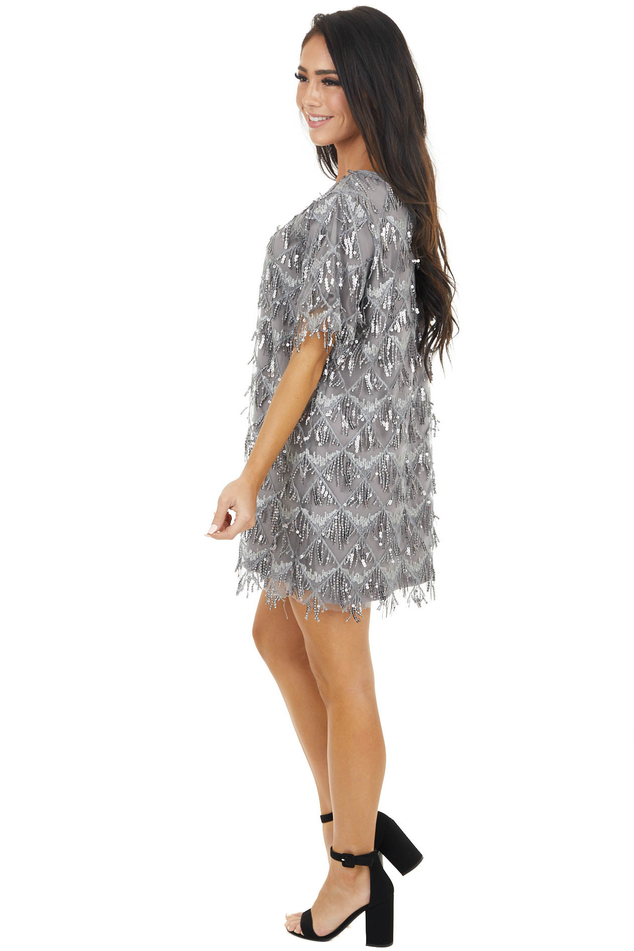 Stone Grey Sequin Short Sleeve Mini Dress with Keyhole Back