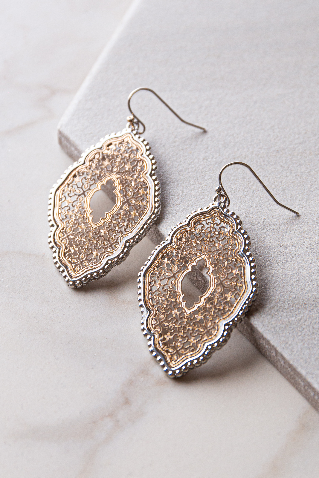 Gold and Silver Metal Moroccan Filigree Dangle Earrings