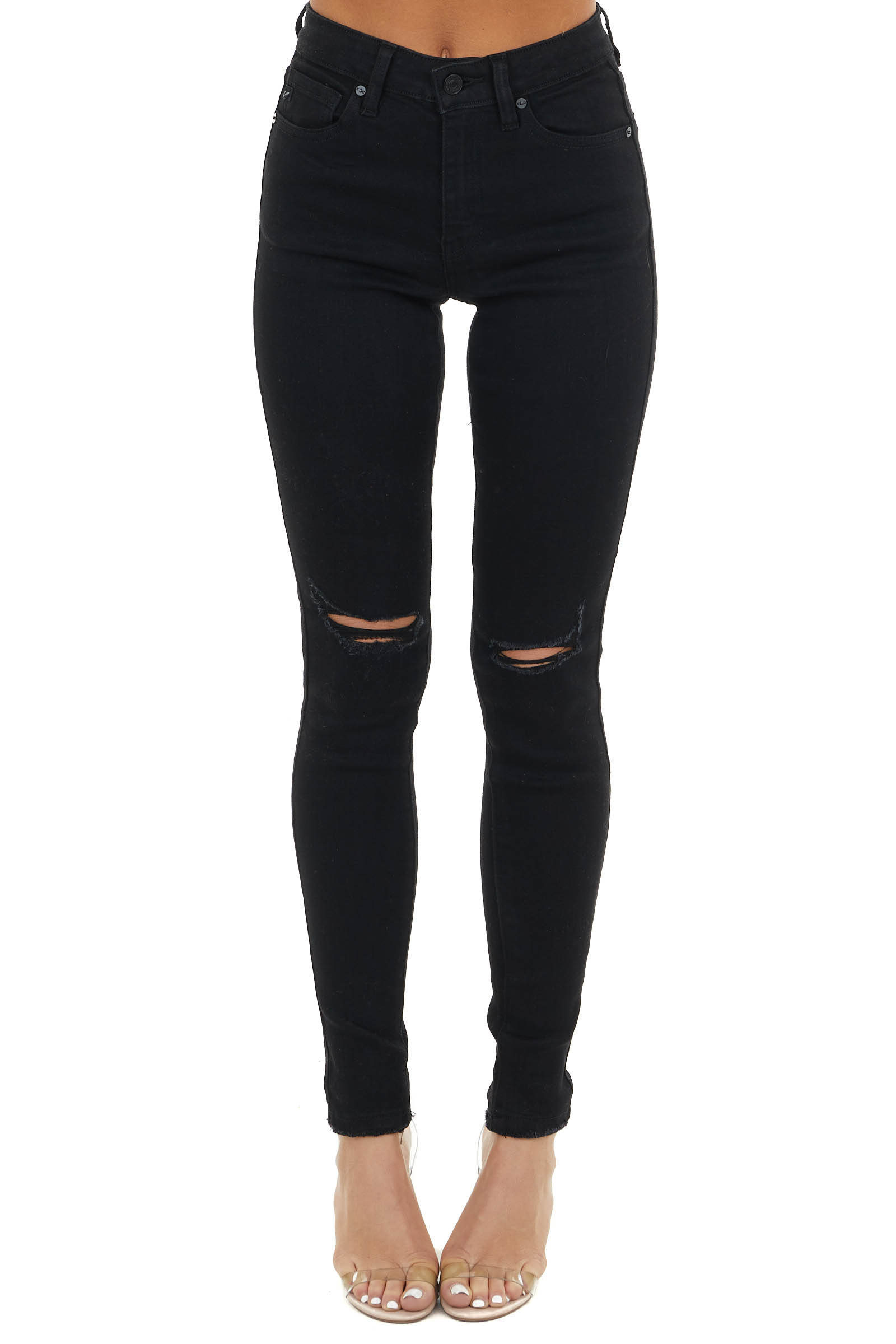 Black Mid Rise Denim Skinny Jeans with Distressing Detail