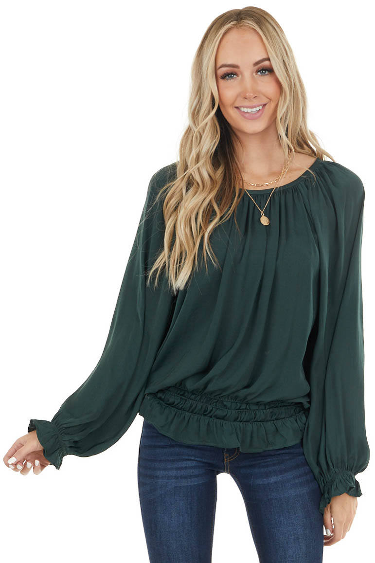 Forest Green Long Sleeve Smocked Top with Puff Sleeves
