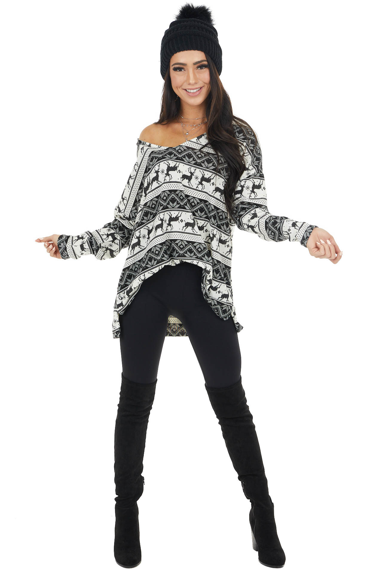 Black and Ivory Holiday Print Oversized Long Sleeve Top