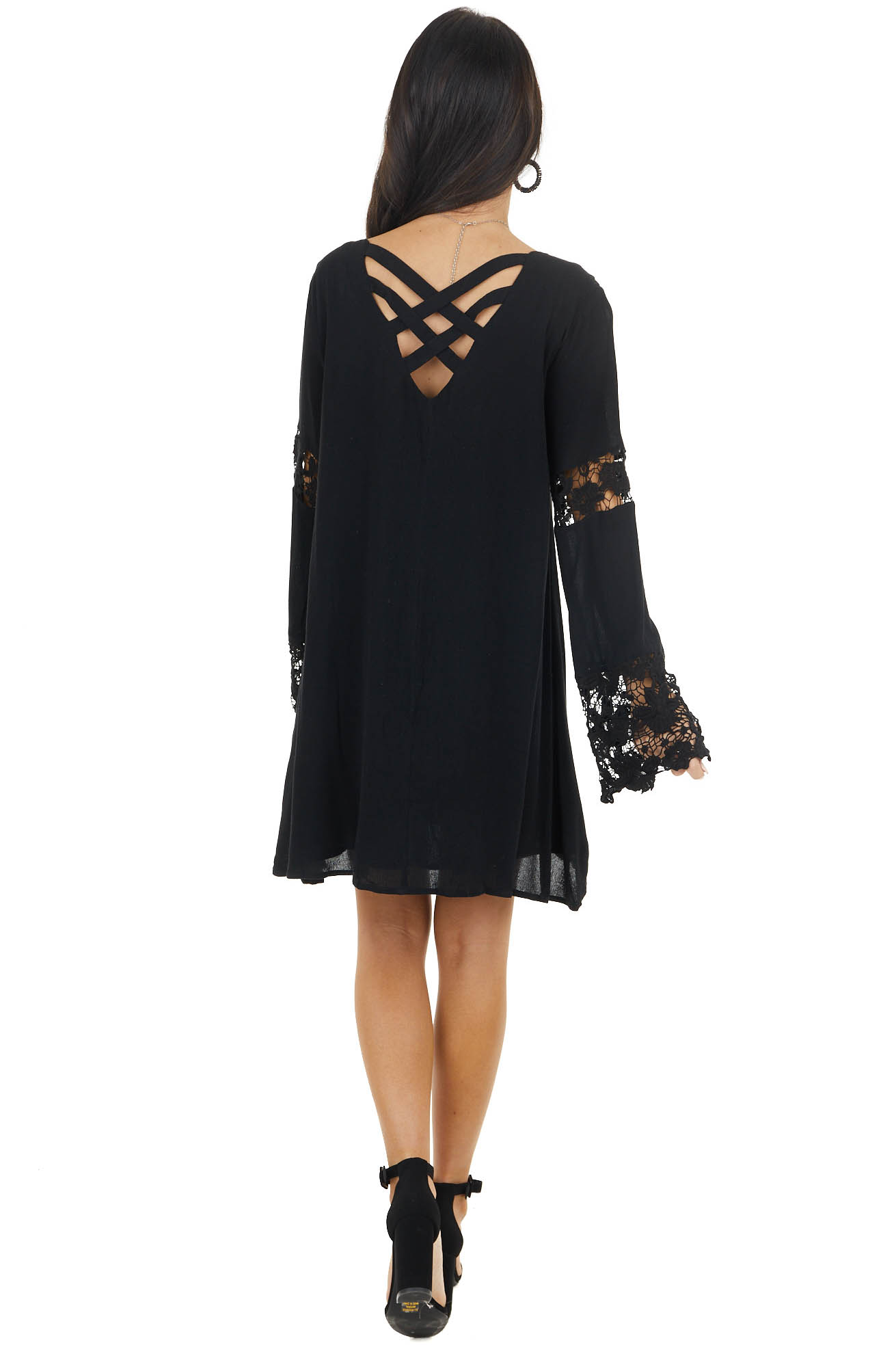 Black Short Shift Dress with Long Crochet Lace Bell Sleeves