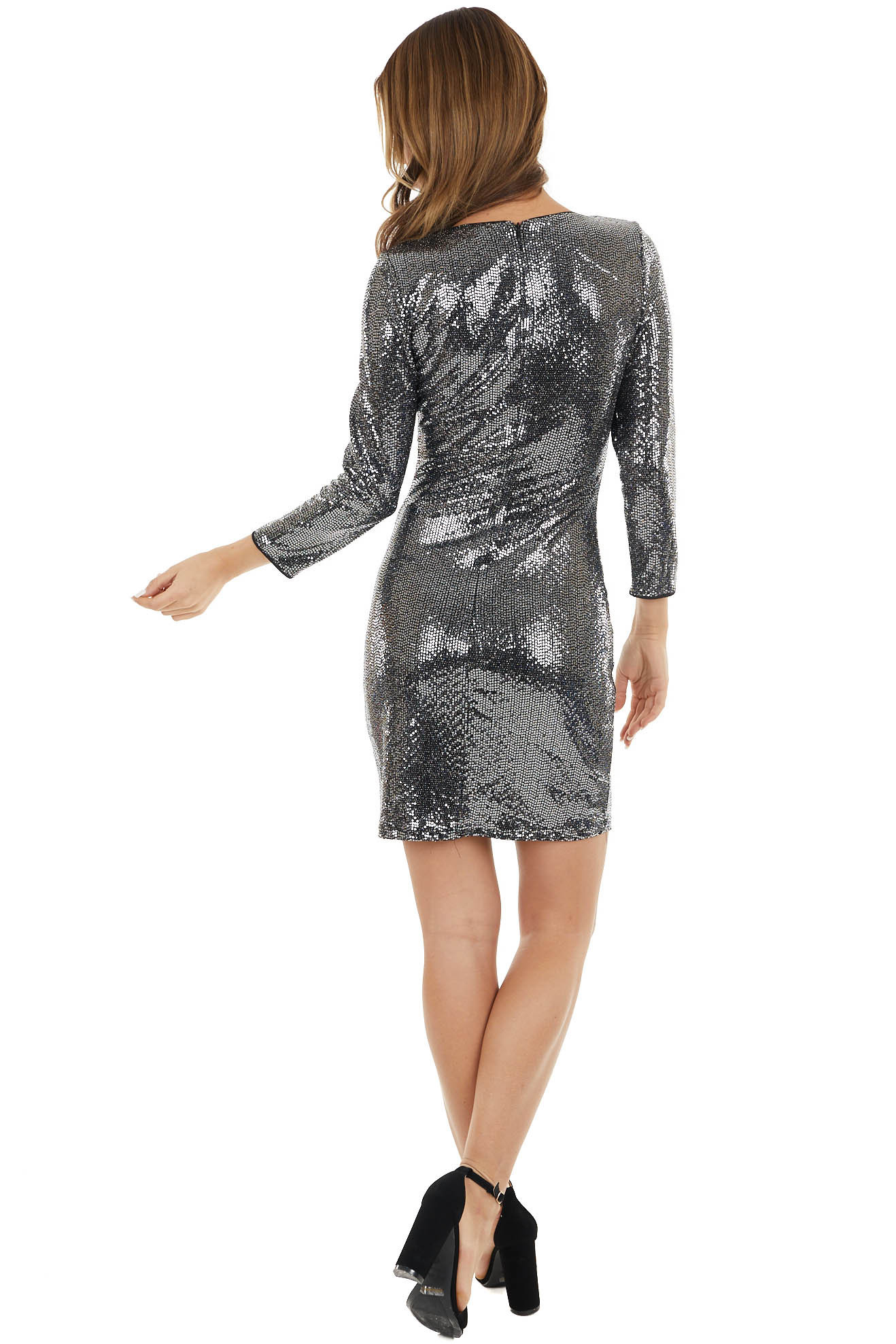 Silver Metallic Bodycon Short Dress with 3/4 Length Sleeves