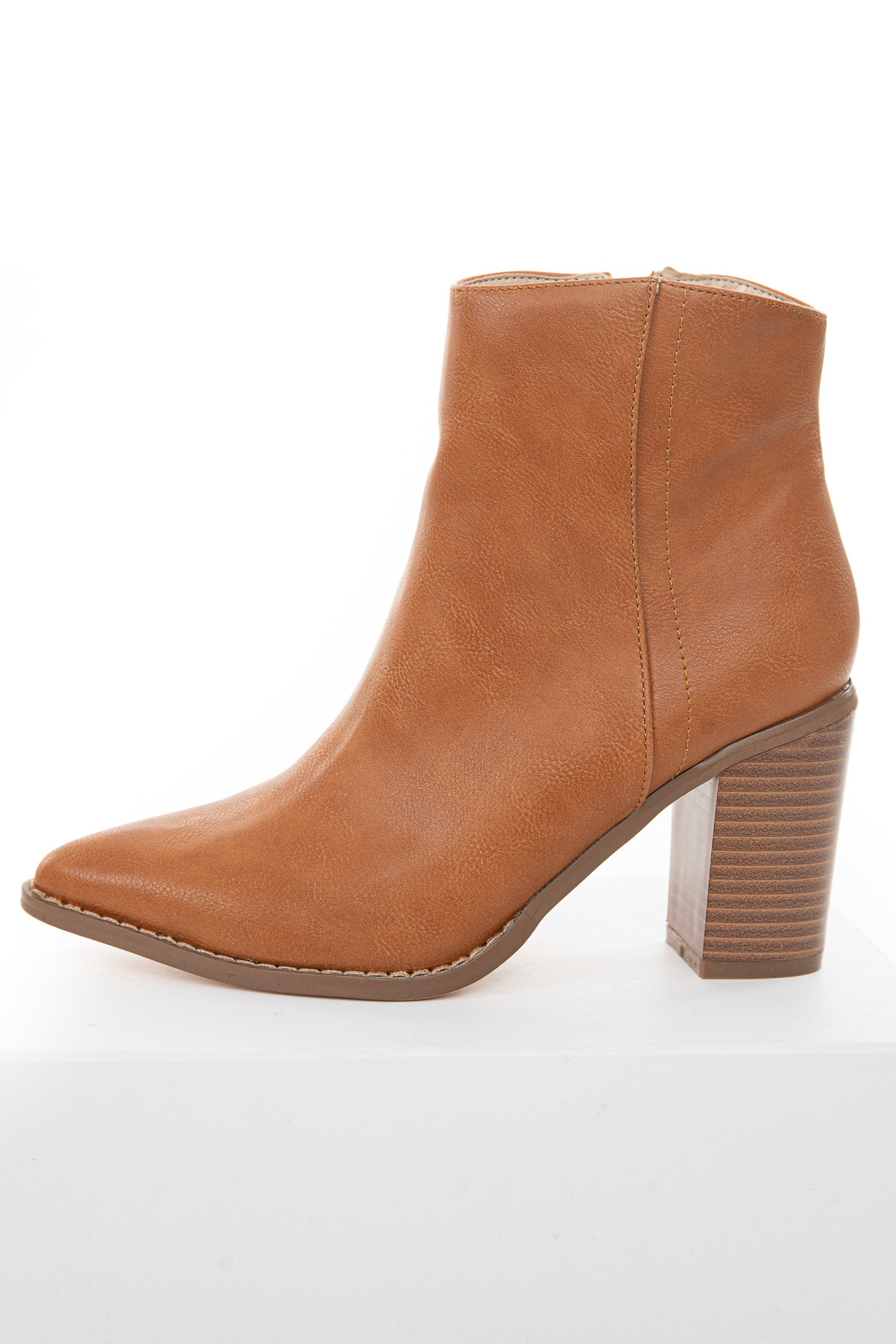 Camel Faux Leather High Heel Booties with Pointed Toe