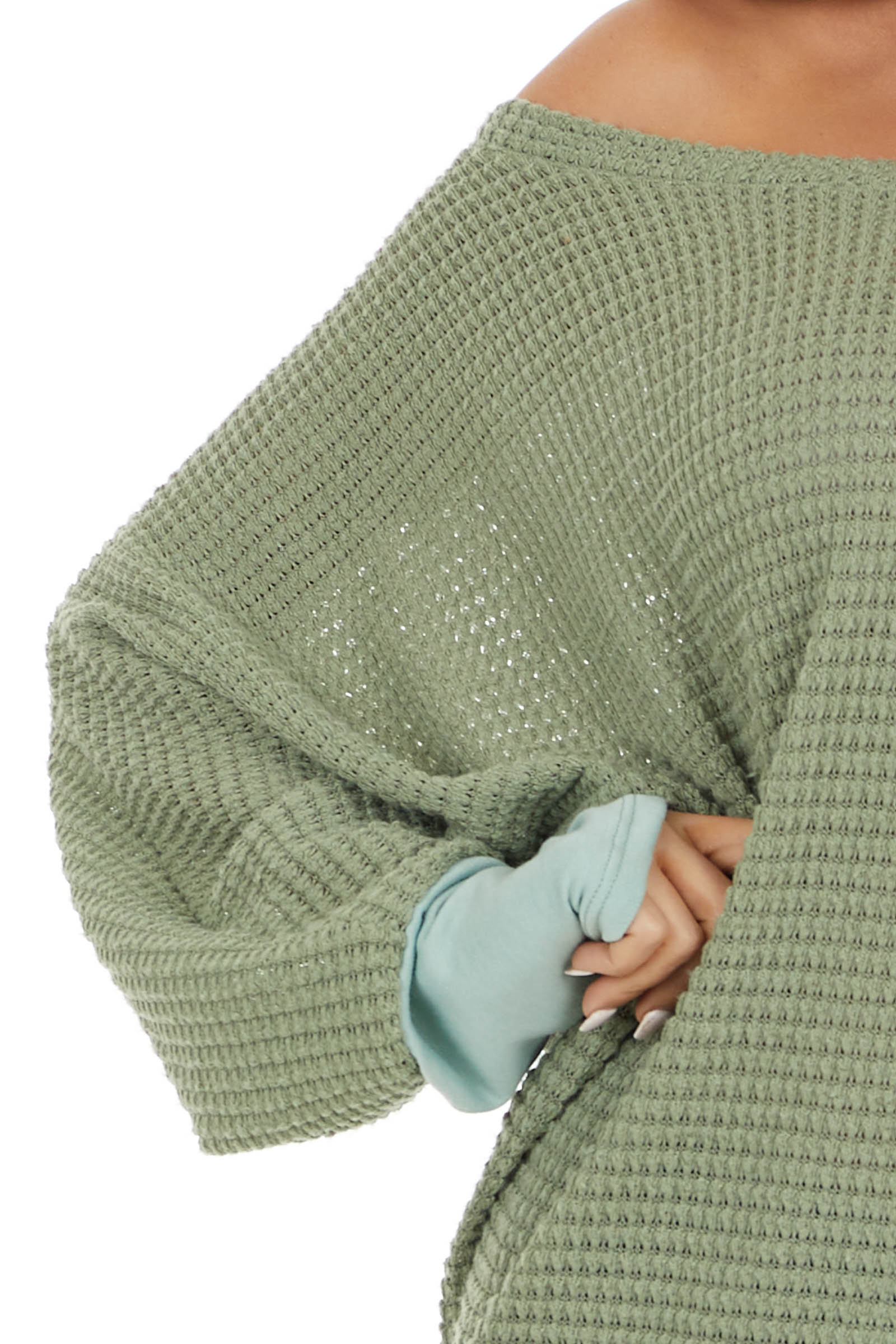 Pistachio Waffle Knit Dolman Sleeve Top with Sage Cuffs