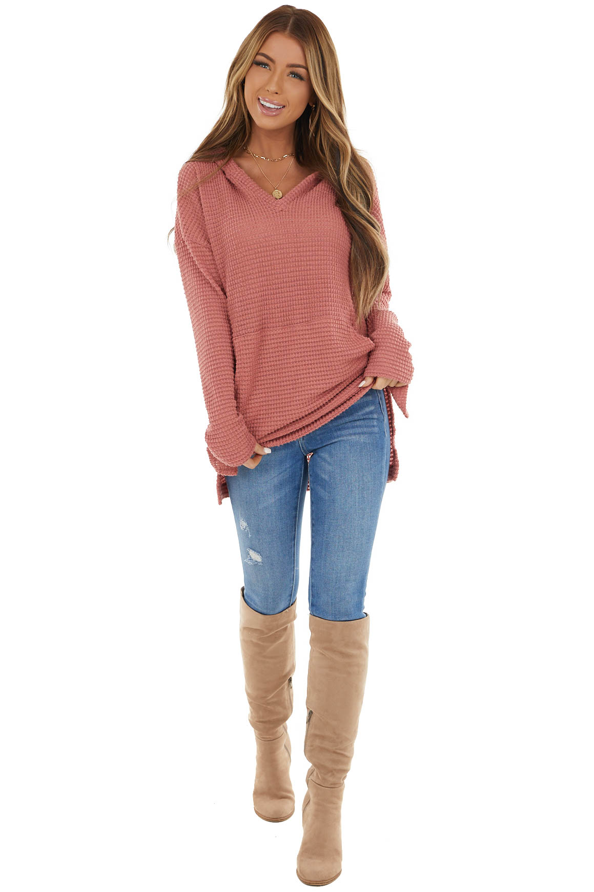 Dusty Rose Stretchy Waffle Knit Hooded Long Sleeve Top