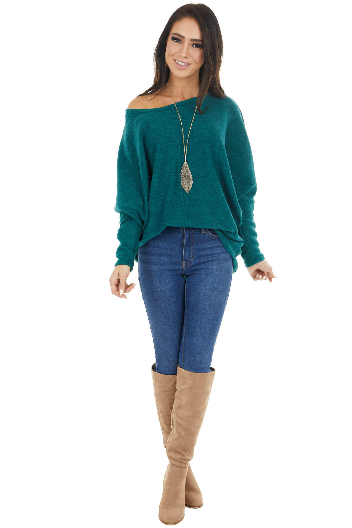 Forest Green Long Dolman Sleeve Top with Raw Edge Detail