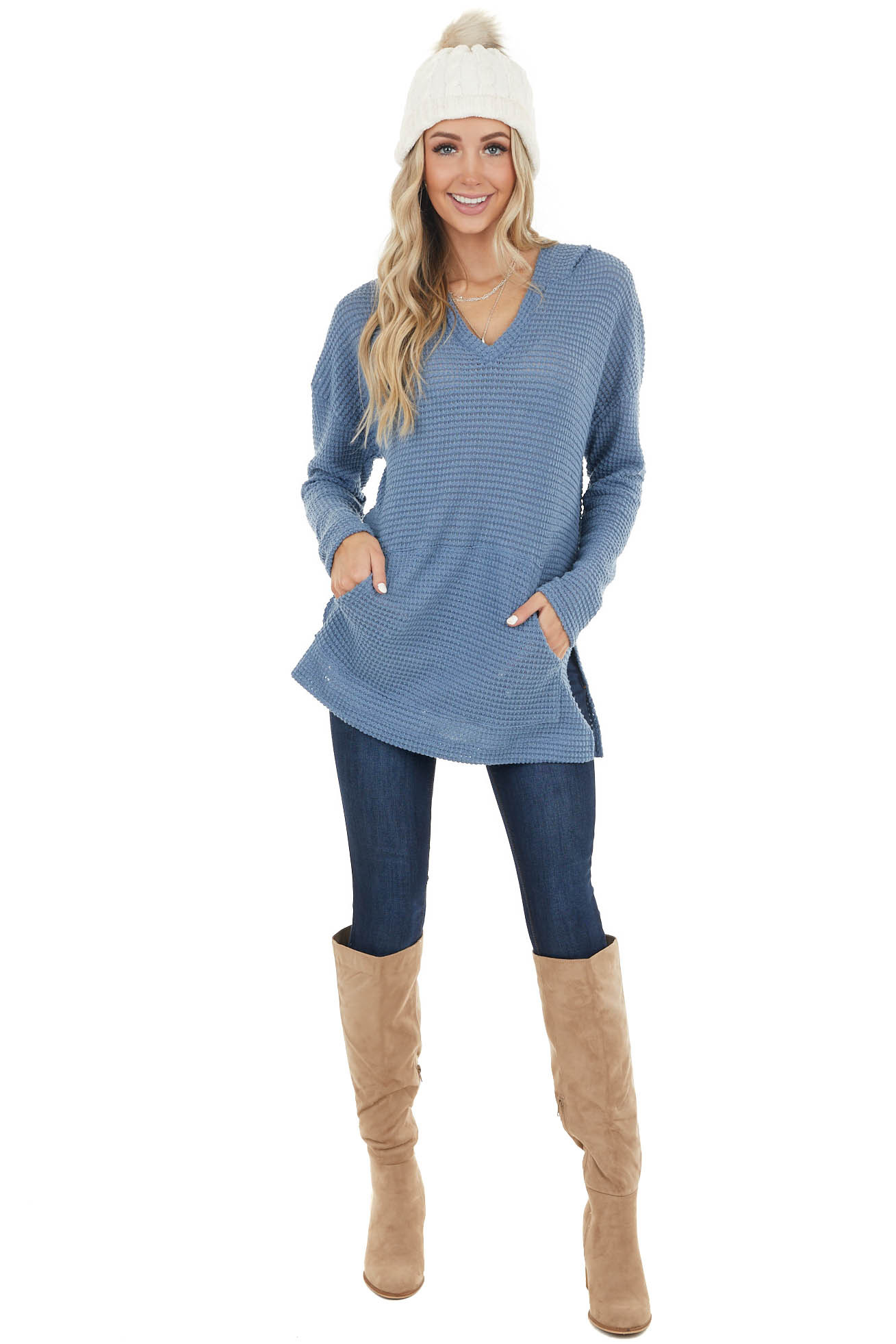 Cornflower Stretchy Waffle Knit Hooded Long Sleeve Top