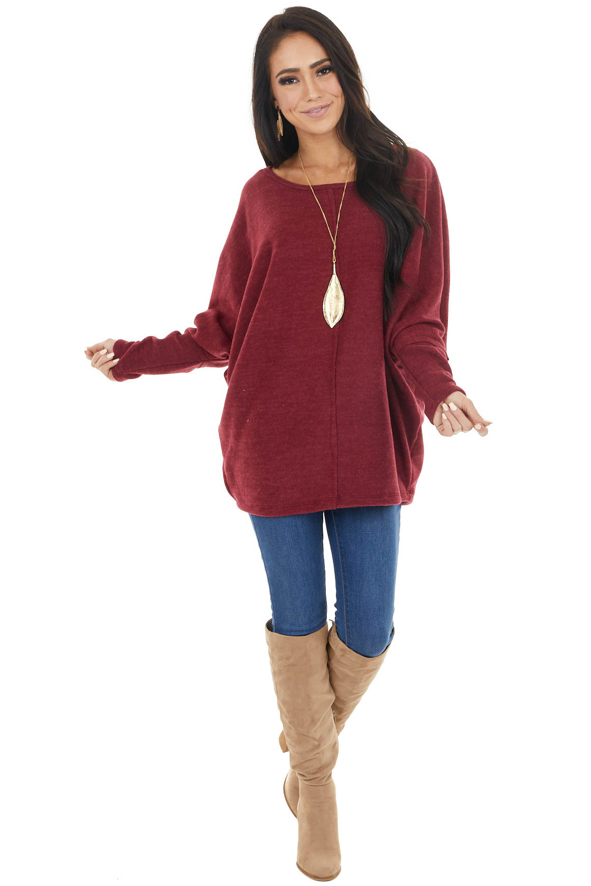 Wine Red Long Dolman Sleeve Top with Raw Edge Detail