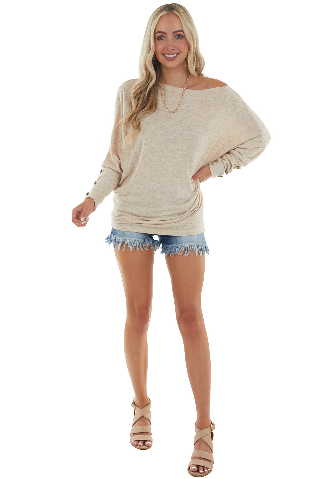 Oatmeal Dolman Sleeve Off Shoulder Top with Button Detail