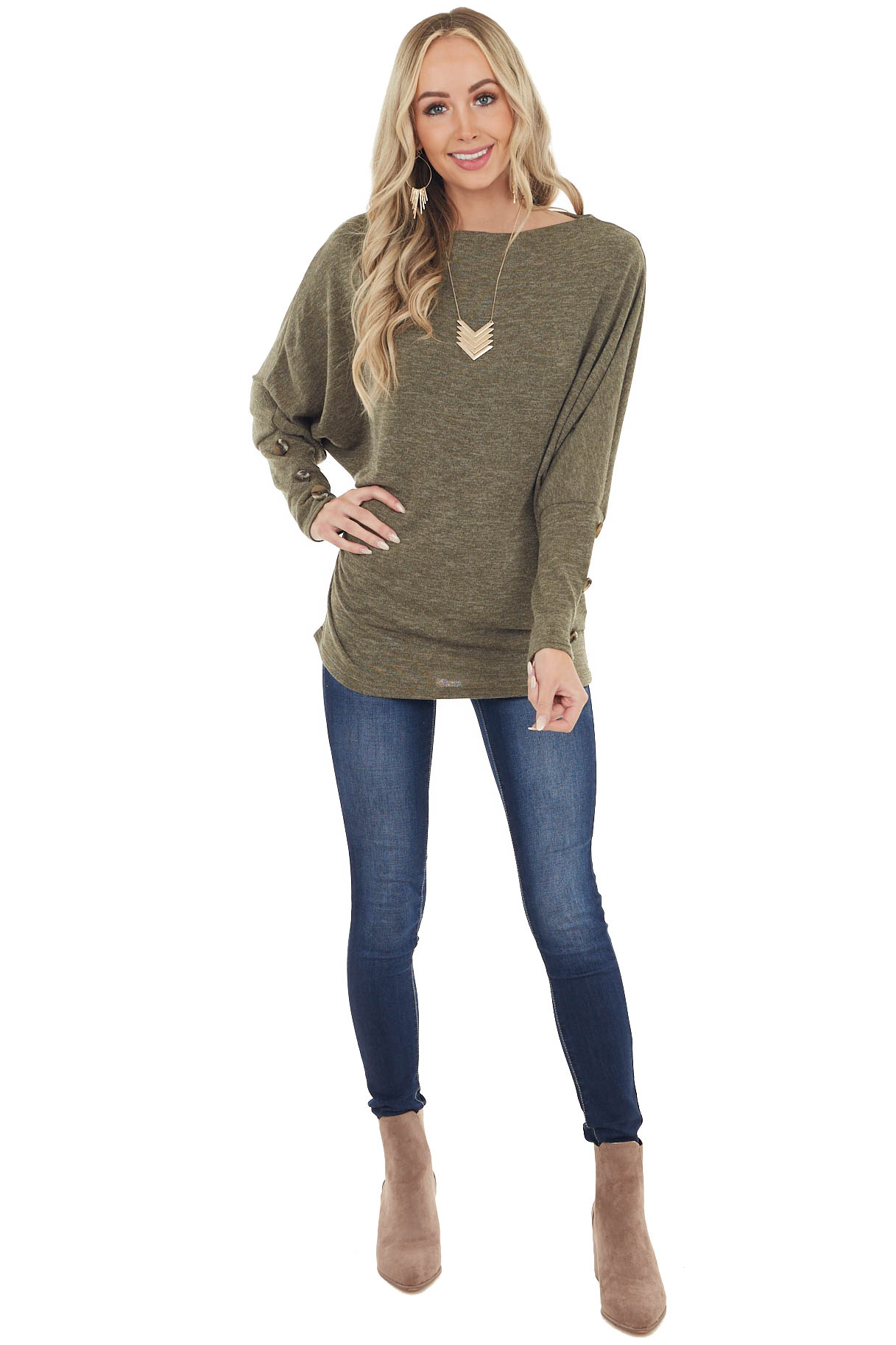 Olive Dolman Sleeve Off Shoulder Top with Button Detail