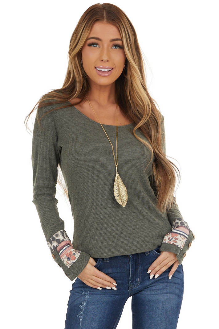 Dark Olive Waffle Knit Top with Multiprint Cuff Detail