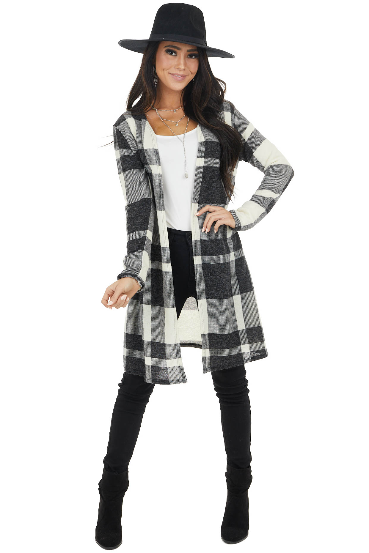 Ivory and Black Buffalo Plaid Print Open Front Cardigan