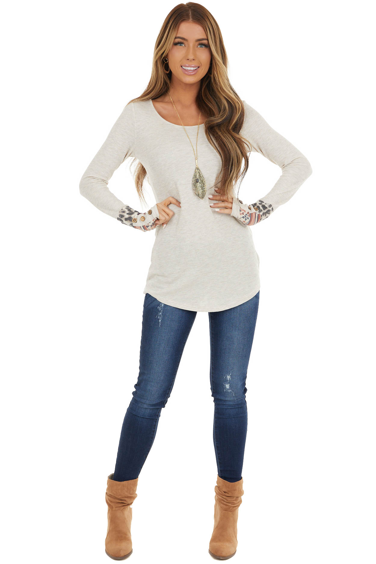 Heathered Oatmeal Waffle Knit Top with Multiprint Cuff