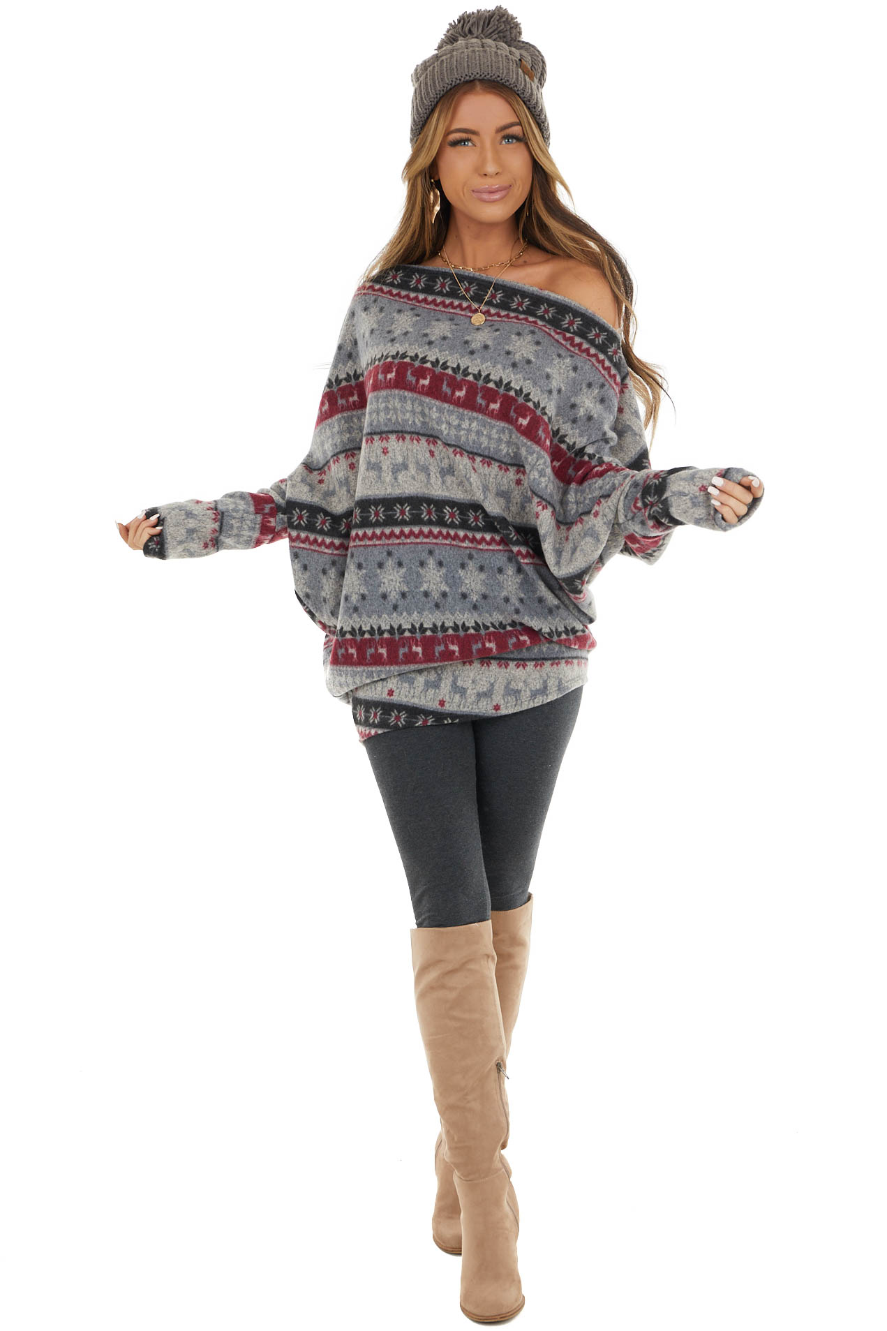 Heather Grey Holiday Print Long Sleeve Off Shoulder Top