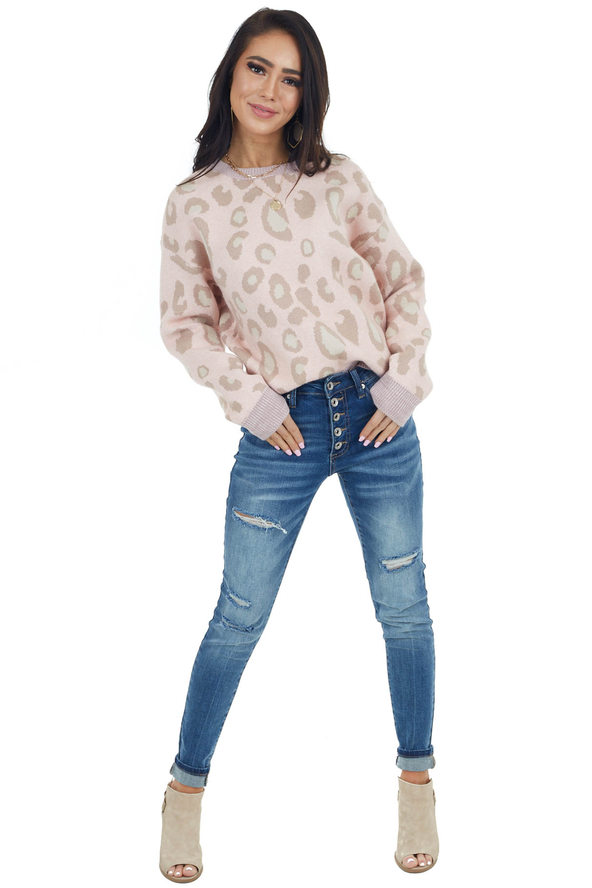 Dusty Blush Leopard Print Long Sleeve Knit Sweater
