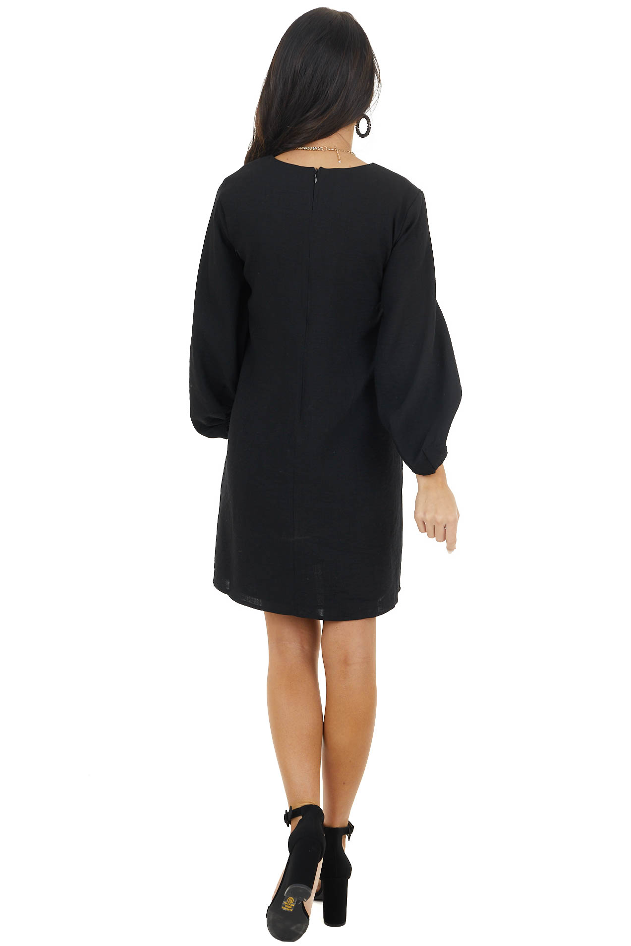 Black Short V Neck Shift Dress with Long Bubble Sleeves