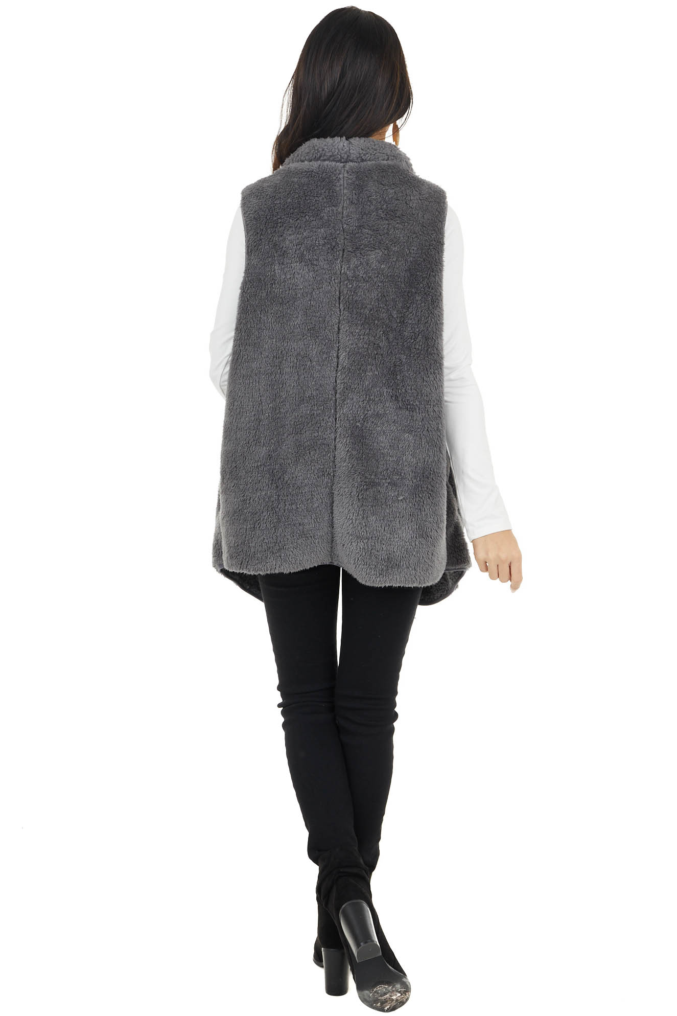 Charcoal Grey Faux Fur Open Front Vest with Pockets