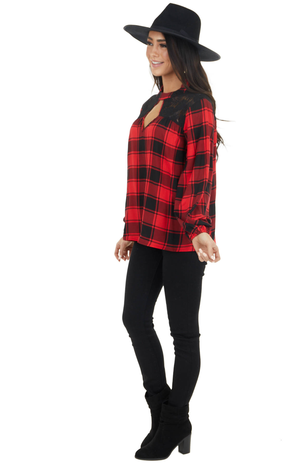Lipstick Red and Black Buffalo Plaid Bubble Sleeve Top