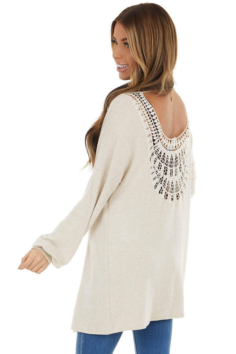 Oatmeal Long Sleeve Knit Cardigan with Crochet Detail