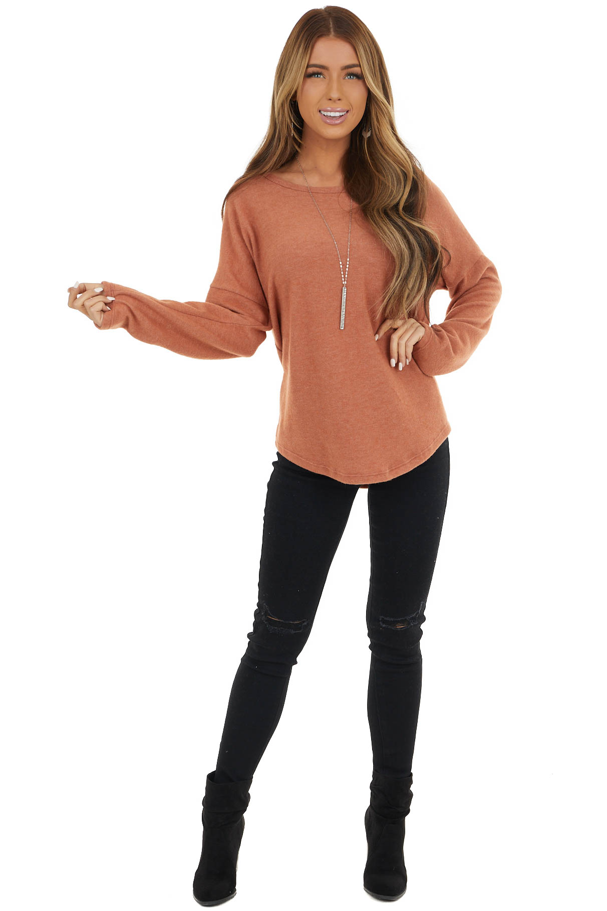 Terracotta Knit Long Sleeve Top with Lace Detail on Back