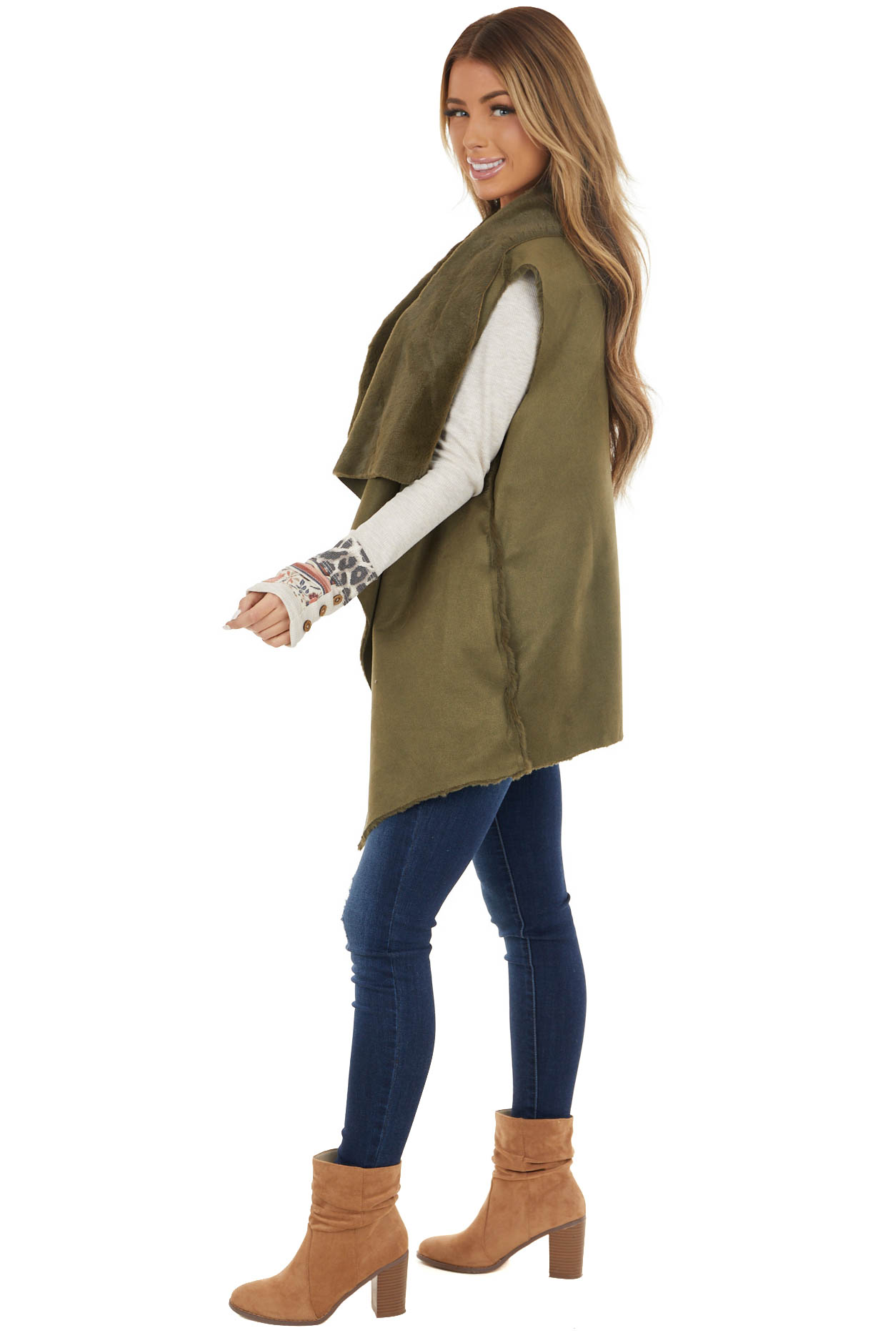 Olive Green Faux Suede Vest with Soft Faux Fur Lining