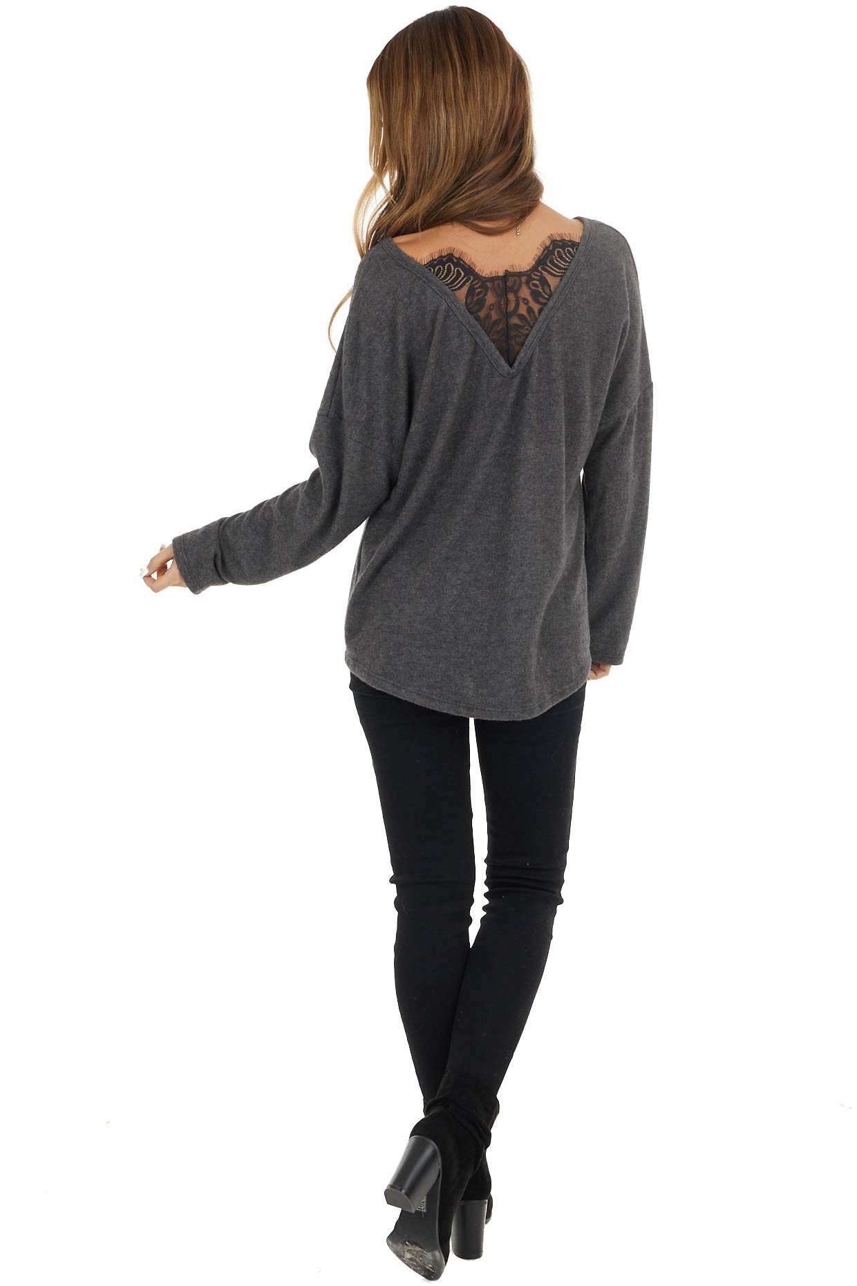 Charcoal Knit Long Sleeve Top with Lace Detail on Back