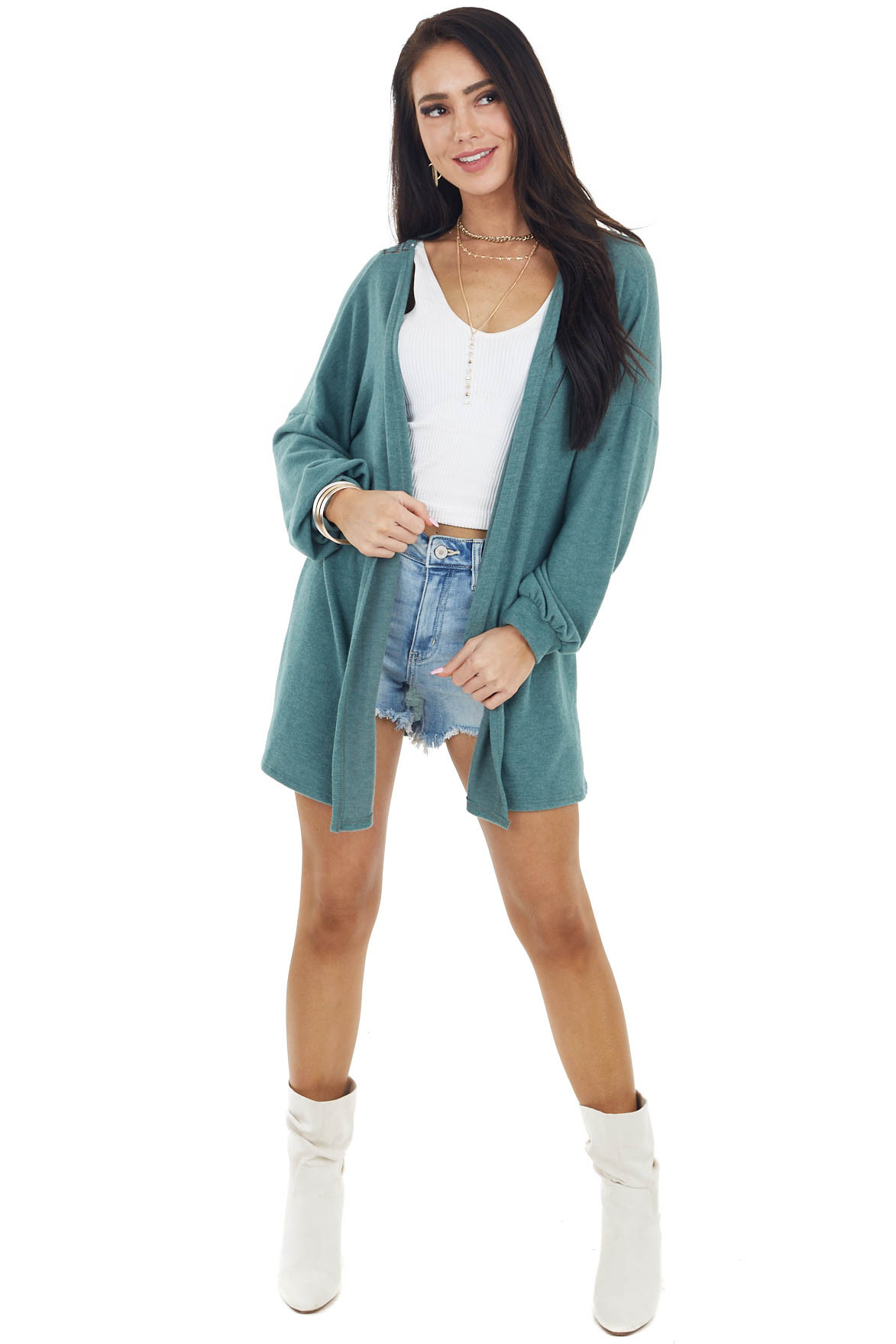 Dusty Pine Long Sleeve Knit Cardigan with Crochet Detail