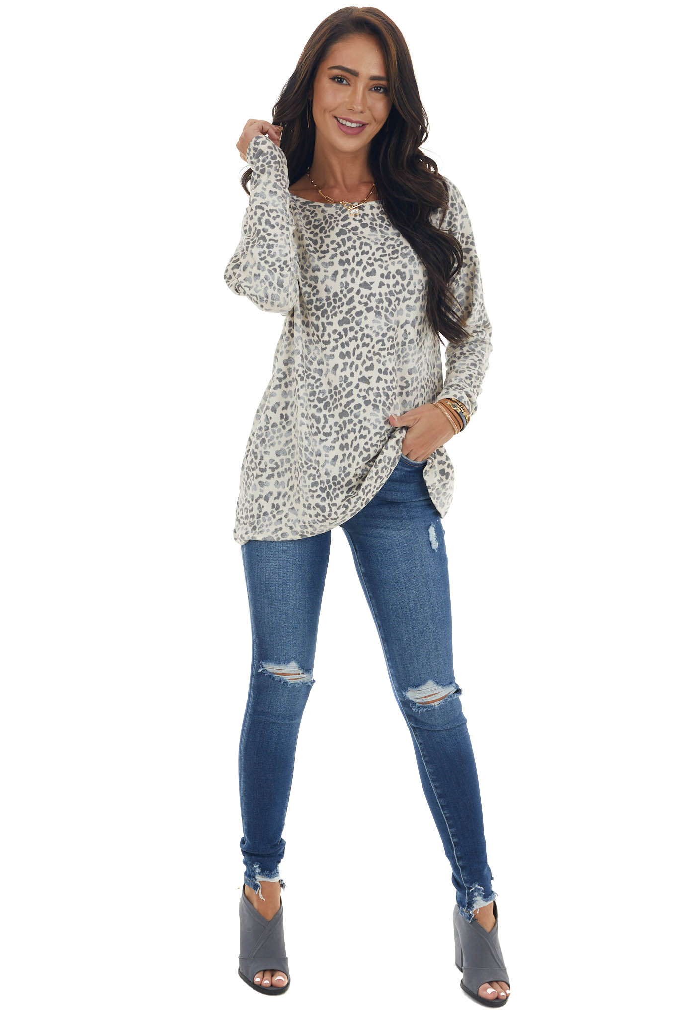Cream and Stone Grey Leopard Print Open Back Oversized Top