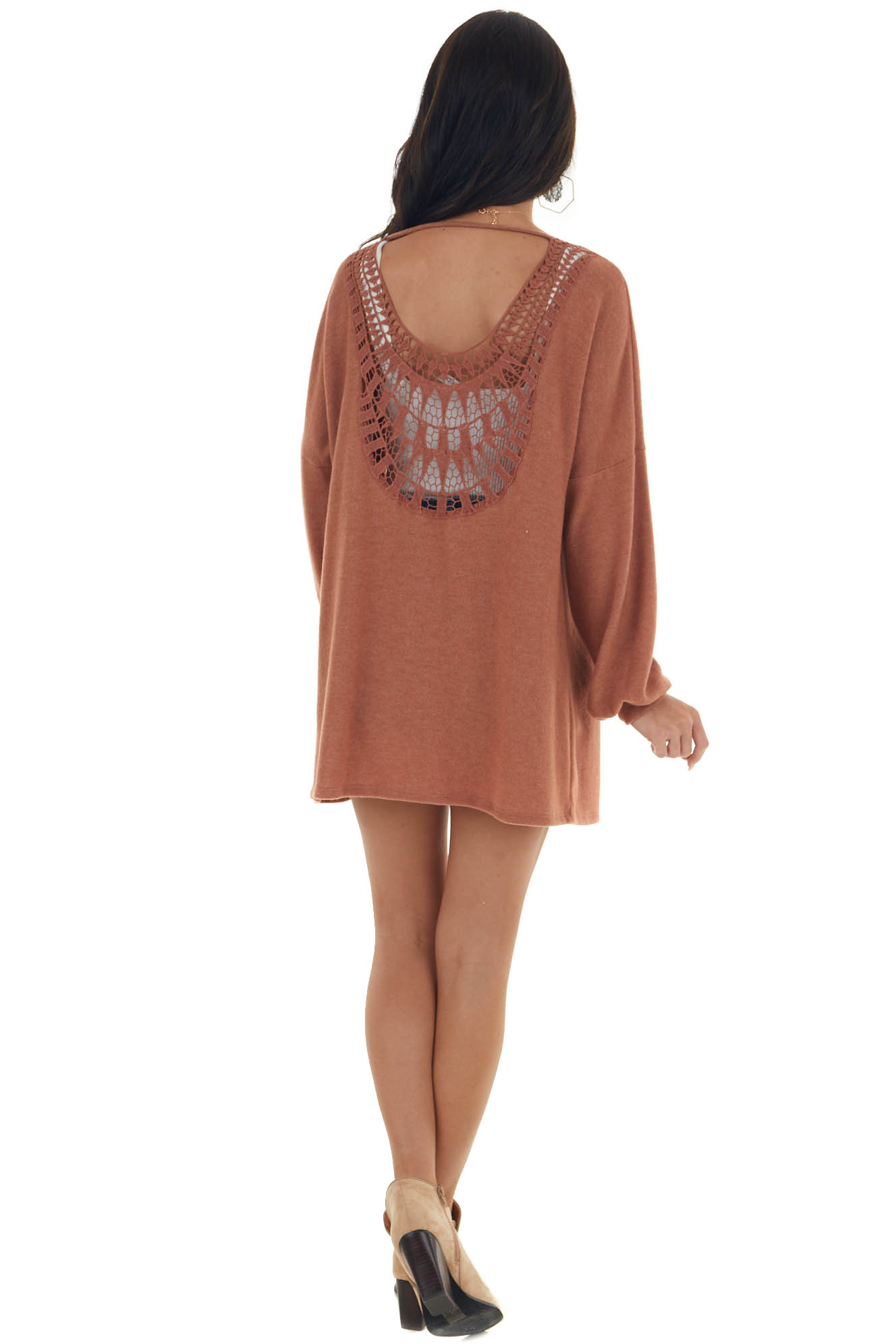 Tawny Long Sleeve Knit Cardigan with Crochet Detail