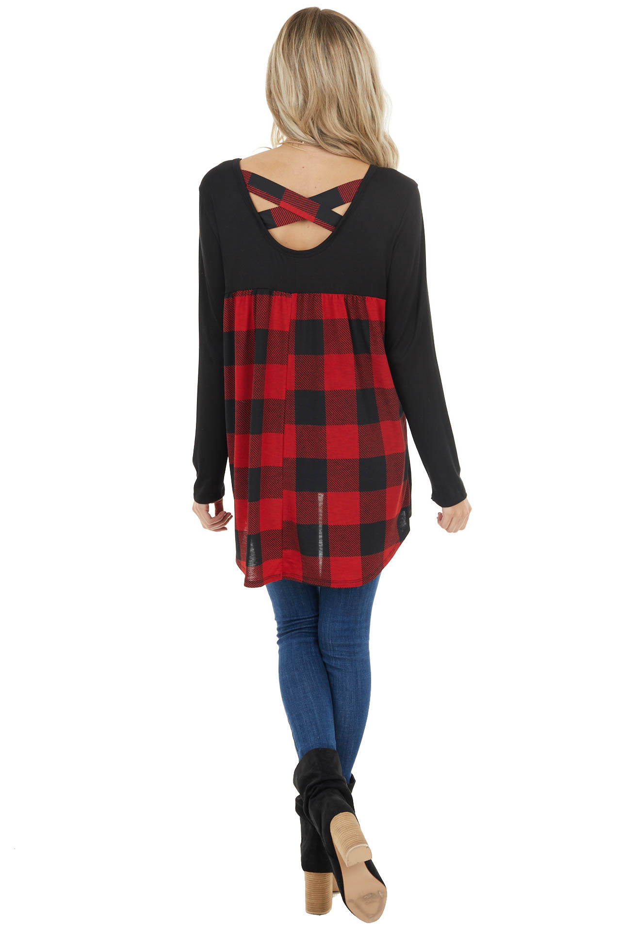 Black and Red Plaid Back Top with Criss Cross Detail
