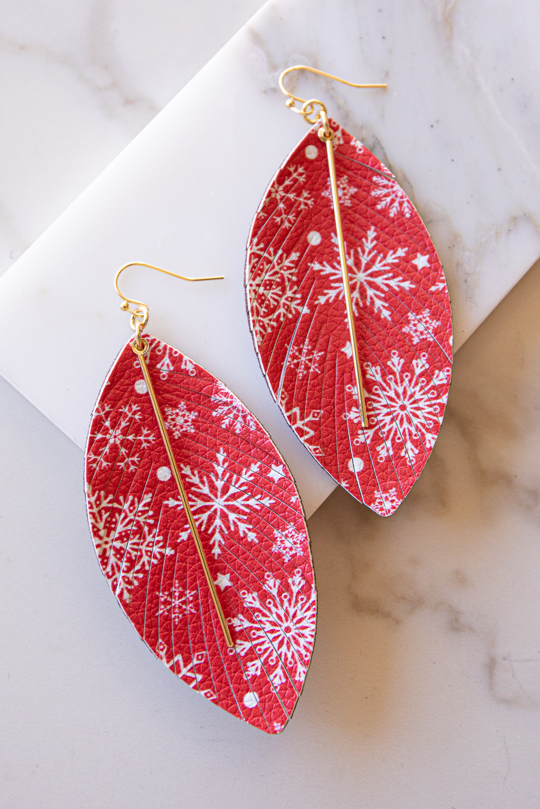 Candy Apple Red and Gold Holiday Print Faux Leather Earrings