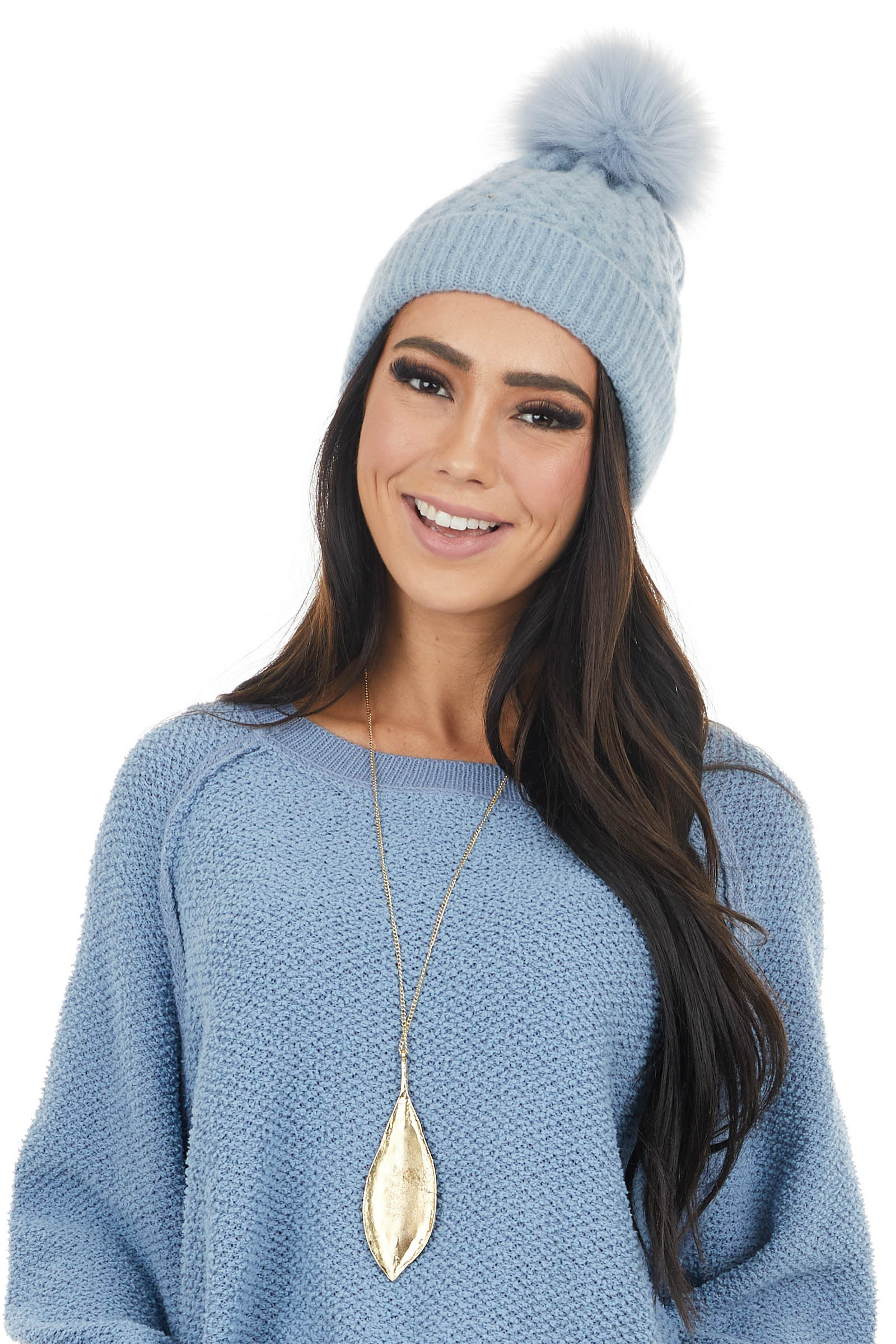 Dusty Blue Textured Knit Beanie with Faux Fur Pom Pom