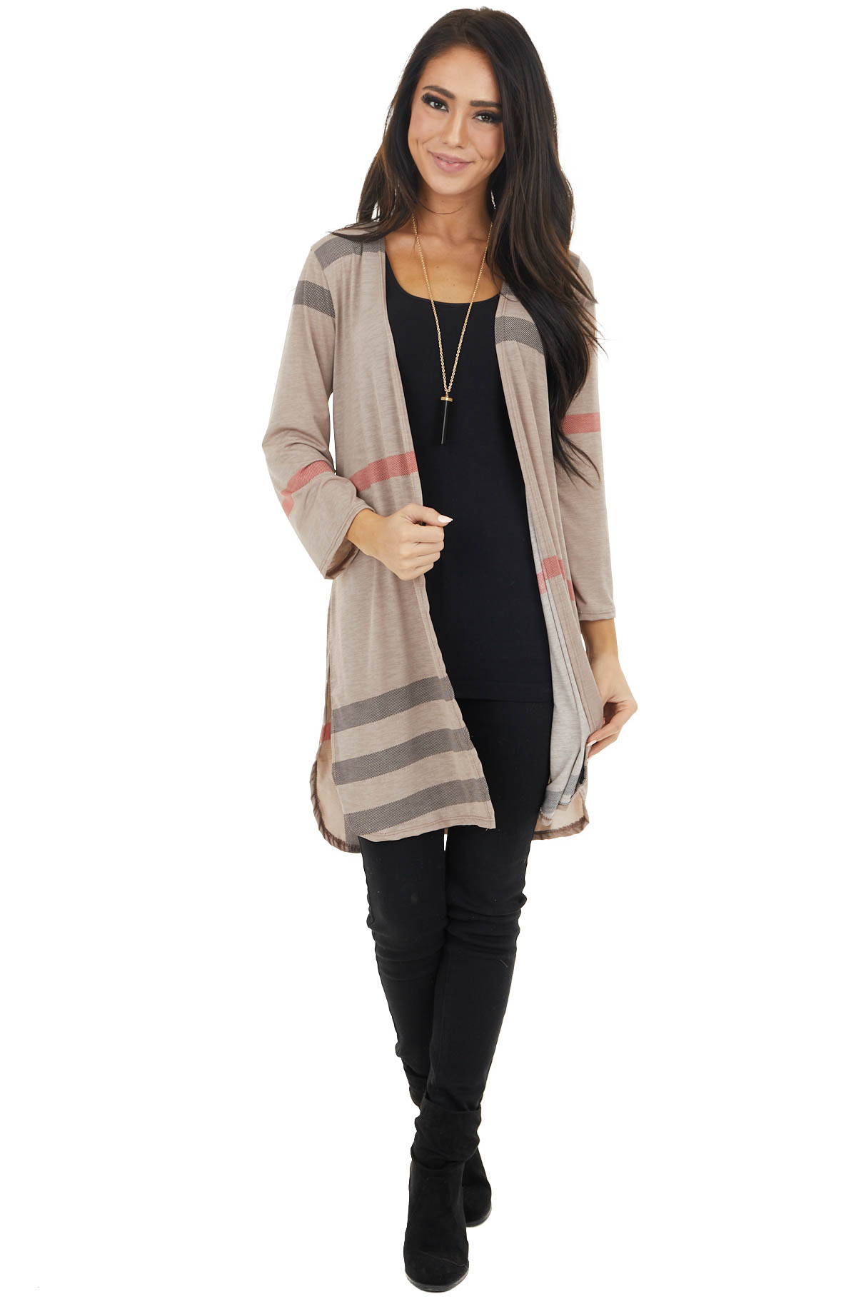Latte Long Sleeve Plaid Print Open Cardigan with Side Slit