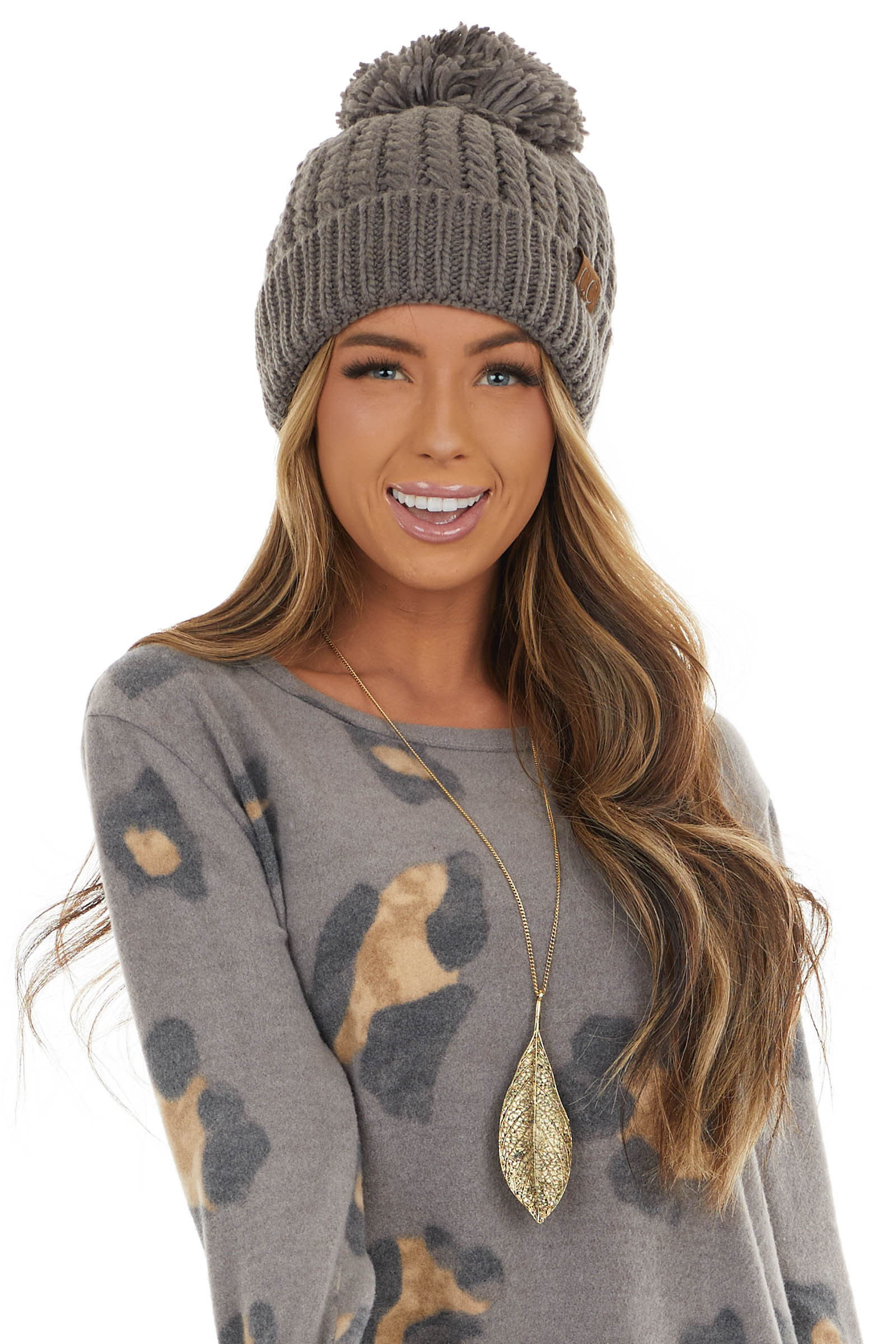 Charcoal Twisted Mock Cable Knit Beanie with Pom Detail